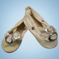 "Sweet antique doll shoes with double buckles 2 1/2"" long"