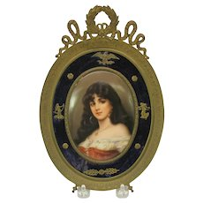 Victorian hand painted signed porcelain portrait plaque French Empire frame
