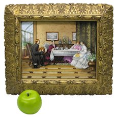 Big antique hand painted porcelain plaque Afternoon tea with Gentleman caller