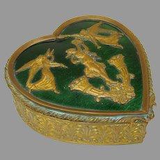 Antique French enamel and ormolu gilt metal heart shaped dresser box