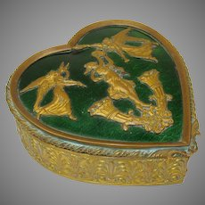 Antique French enamel and ormolu gilt metal heart shaped dresser box