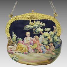 Vintage French scenic Aubusson tapestry Ladies purse bag with gilded cherub frame