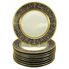 "10 Vintage Rosenthal porcelain gilded cobalt bordered dinner plates 11"""