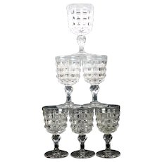 6 Big American Brilliant Period cut glass wine goblet glasses