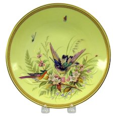 Antique Royal Worcester enameled porcelain cabinet plate of Birds & bugs