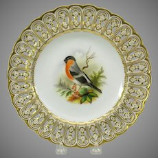 19th Century Mintons reticulated porcelain painted cabinet plate The Bullfinch bird
