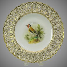 19th Century Mintons reticulated porcelain painted cabinet plate The Goldfinch bird