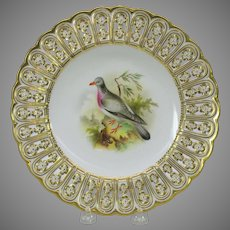 19th Century Mintons reticulated porcelain painted cabinet plate The Ring Dove bird