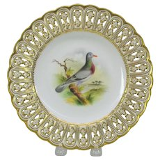 19th Century Mintons reticulated porcelain painted cabinet plate The Stock Dove bird