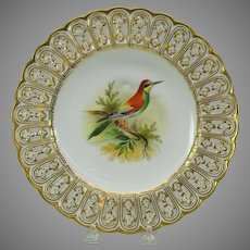 19th Century Mintons reticulated porcelain painted cabinet plate The Bee Eater bird