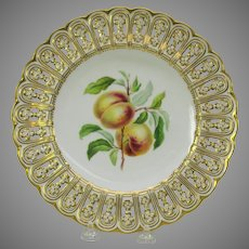 19th Century Mintons reticulated porcelain painted fruit cabinet plate Nectarine
