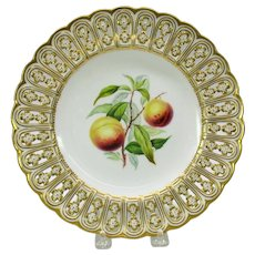 """19th Century Mintons reticulated porcelain painted fruit cabinet plate """"Peach"""""""