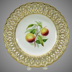 "19th Century Mintons reticulated porcelain painted fruit cabinet plate ""Peach"""