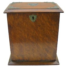 Antique English oak table stationary writing box