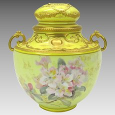 Antique hand painted artist signed Royal Crown Derby porcelain lidded urn jar