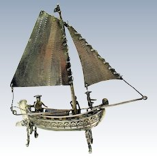 Antique 800 miniature silver table model of a masted ship figures in tricorn hats