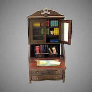 Vintage doll house miniature writing bureau bookcase stuffed with books , memo pad etc