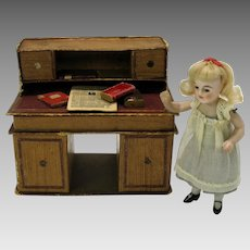 "Antique German 3 1/2"" all bisque girl doll house doll original outfit glass eyes"