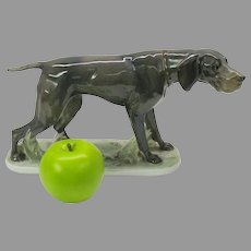 Large Rosenthal porcelain Pointer Dog figure by Fritz Diller 1913