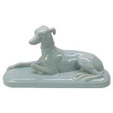 Large vintage Sarreguemines pottery Greyhound dog figure in pale blue glaze