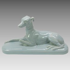 Large vintage Sarreguemines pottery Greyhound dog figure in pale blue glaze