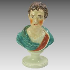 1800's  Pearlware pottery colored bust of Issac Newton