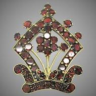 Victorian Bohemian garnet brooch pin with flower