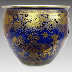 Huge antique Chinese porcelain powder blue gilded jardiniere plant pot