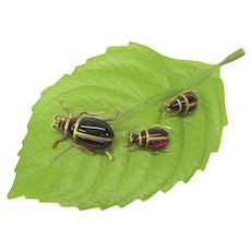 Set of 3 Victorian garnet bug scatter pins brooch