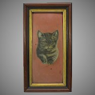 Antique primitive oil painting of a grey kitten cat