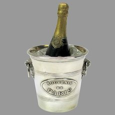 Antique French  bronze & silver plate figural inkwell-champagne bottle in ice bucket
