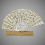 Antique Ladies hand fan with eagle design and original box