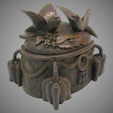 Antique figural carved Black Forest wood jewelry casket box original key