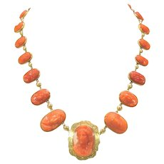 Antique 14k gold and carved coral cameo necklace with 22 cameos