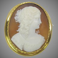 Large Victorian 18k gold carved shell cameo brooch pin