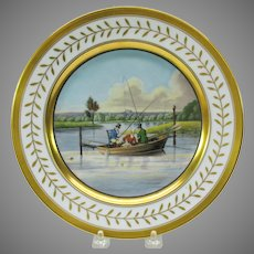 "1925 hand painted porcelain cabinet plate ""Fishing in a punt"" artist signed"