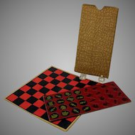 Vintage complete traveling paper chess and checkers set