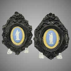Pair small antique framed Wedgwood plaques facing pair
