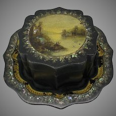 19th Century painted toleware box on tray original label & signed