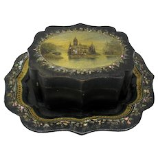19th Century oblong toleware decorated box on matching tray