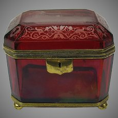 Large 1851 Crystal Palace Exhibition cranberry cut to clear dresser box casket