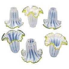 Set of 6 antique miniature vaseline glass flower shades for cherub or Art Nouveau lamp