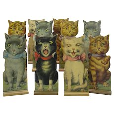 Set of 10 Antique chromolitho Louis Wain cat bowling ten pins
