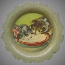 Antique Cat advertising miniature tin litho tip tray