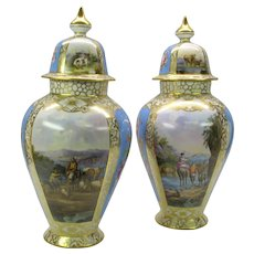 "Pair 16"" Dresden porcelain hand painted urns with Cattle herder scenes Cows Goats"