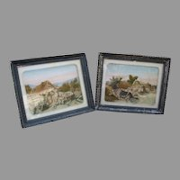 Pair of 19th Century embroidered silk pictures Newfoundland Dog rescuing baby on river
