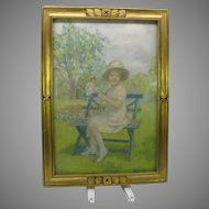 1914 Pastel Little girl in garden with doll Z. Morrison NY  listed artist