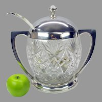 Big J.H Werner Berlin 800 silver and cut glass lidded punch bowl with original silver ladle