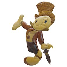 Vintage Anri carved wood 2D Jiminy Cricket portrait picture