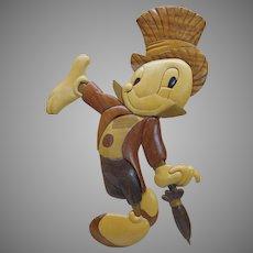 Vintage Anri carved wood 2D Jiminy Cricket portrait picture